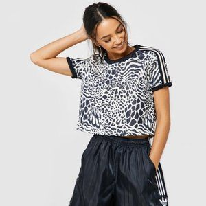 Adidas Originals Leopard Scuba Cropped Tee    M